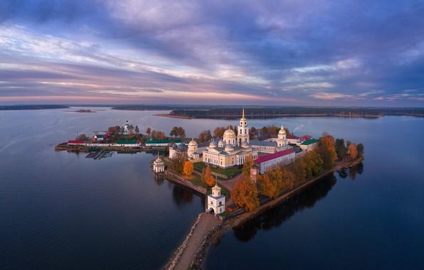 Picture autumn, the sky, lake, island, Russia, the monastery, Nilo-Stolobenskaya Pustyn', Nilova Pustyn, Stolobny Island, Lake …