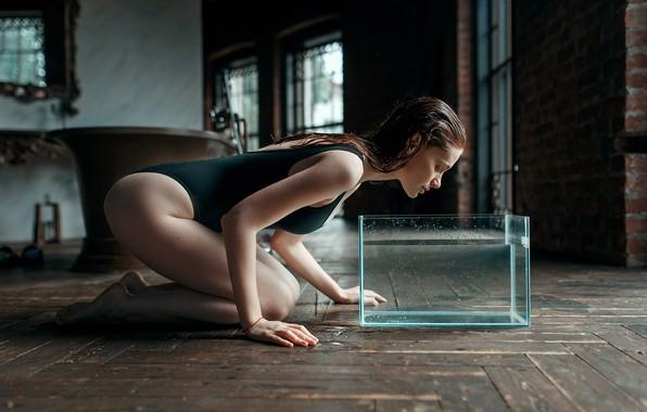 Picture swimsuit, girl, aquarium, Juliana Naidenova