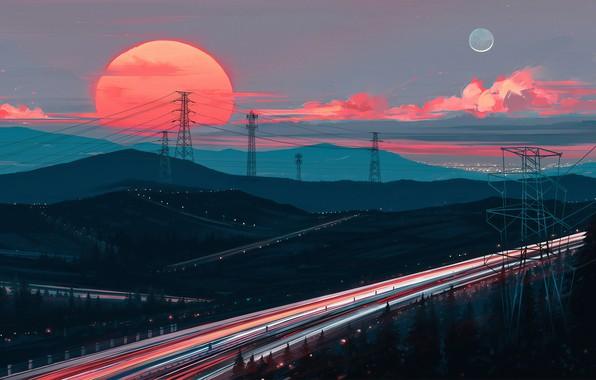 Picture sunset, figure, highway, art, art, Aenami, by Aenami, Alena Aenam The, by Alena Aenami, Away …