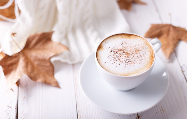 Picture autumn, leaves, background, colorful, wood, background, autumn, leaves, cup, coffee, autumn, a Cup of coffee, …
