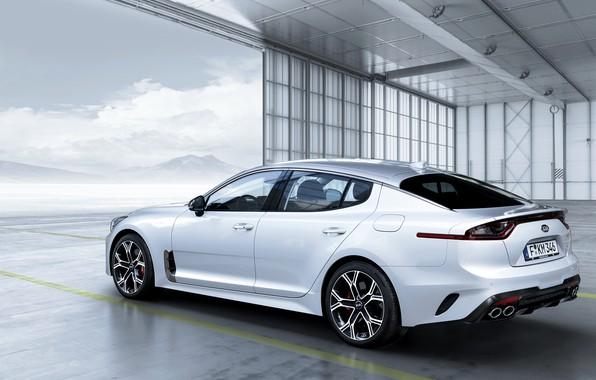 Picture white, gate, KIA, Kia, the five-door, Stinger, Stinger GT, fastback, KIΛ