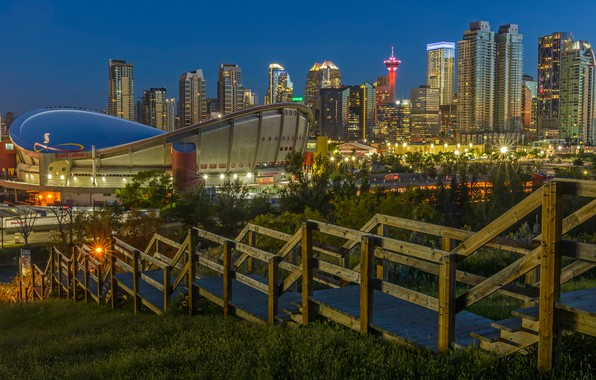Picture the city, lights, the descent, building, the evening, the fence, Canada, ladder, railings, stage, Albert, …