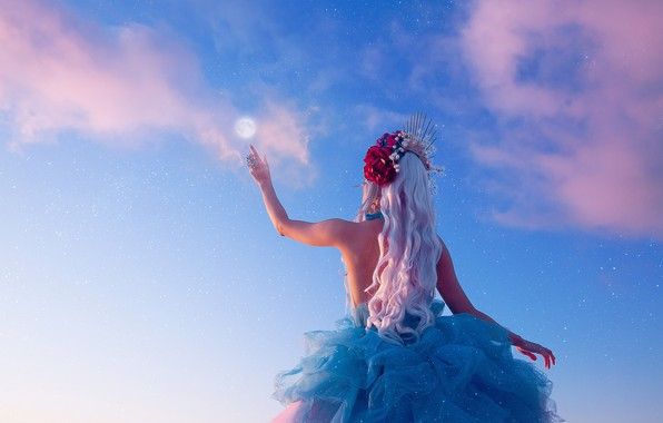 Picture the sky, girl, pose, mood, the moon, hand, the situation, dress, long hair, white hair