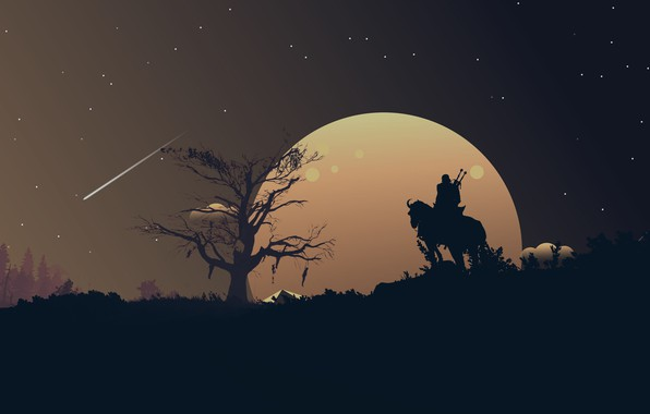 Picture moon, fantasy, game, The Witcher, landscape, night, stars, tree, horse, weapons, digital art, artwork, warrior, …