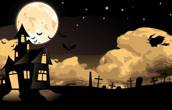 Picture Halloween, moon, house, holidays, flying, cemetery, fear, bats, witch, scary