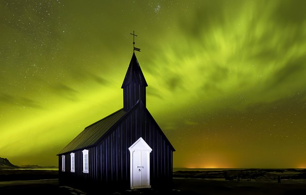 Picture Iceland, Aurora Borealis, Budir Church