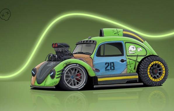 Picture Auto, Figure, Volkswagen, Machine, Beetle, Art, Volkswagen Beetle, Illustrations, Dmitry Strukov, by Dmitry Strukov
