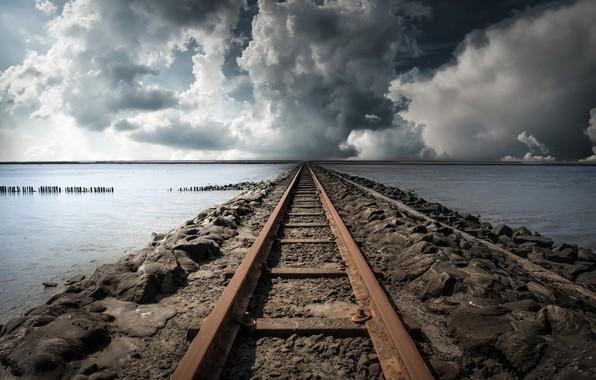 Picture sea, clouds, railroad
