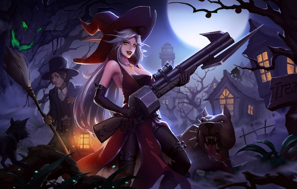 Picture Girl, Moon, Fantasy, Dog, Art, Style, Night, Cat, Illustration, Weapon, Minimalism, Witch, Wizard, Character, Yang …