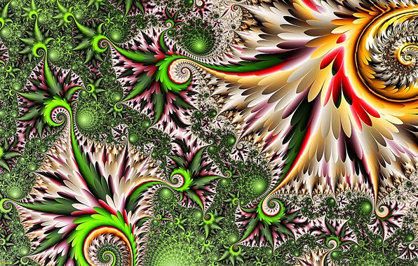 Picture grass, leaves, the sun, abstraction, rendering, fantasy, fractals, spring, picture