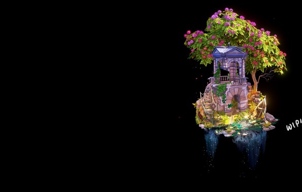 Picture tree, waterfall, fantasy, art, WIP- Step by Step 'Abandoned Building', Anya Jo Elvidge