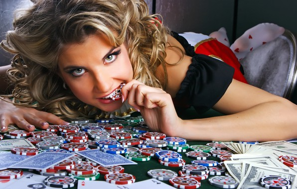 Picture girl, money, chips, casino