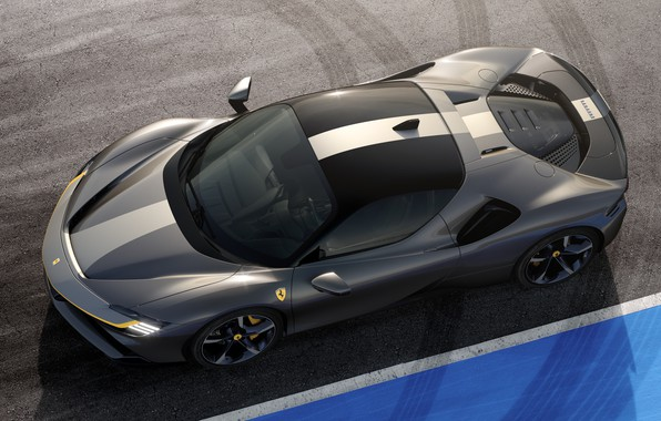 Picture Ferrari, sports car, the view from the top, Road, SF90