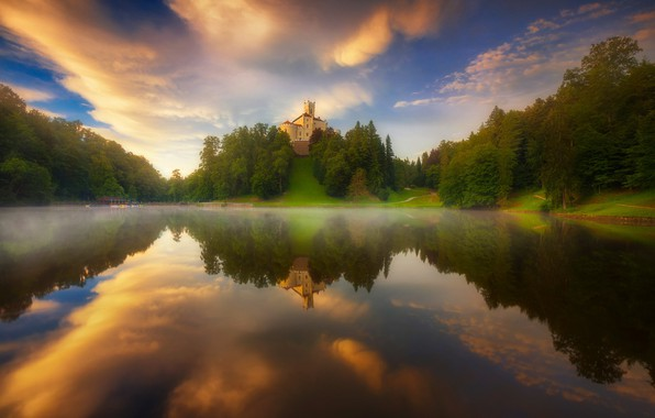 Picture landscape, sunset, nature, fog, lake, reflection, castle, dawn, hill, forest, Croatia, roberto pavic