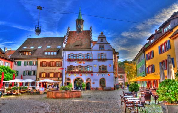 Picture building, home, Germany, area, fountain, Germany, Baden-Württemberg, Baden-Württemberg, Staufen im Breisgau, Staufen im Breisgau