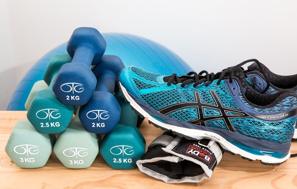 Picture gloves, sneakers, dumbbells, fitnees