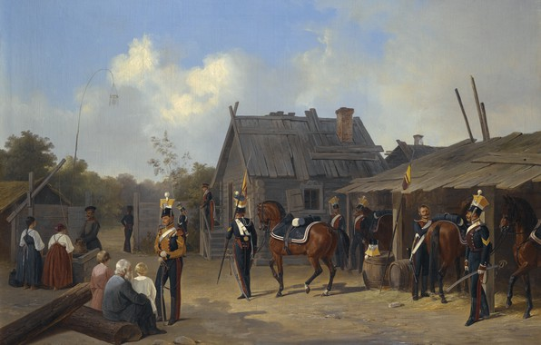 Picture 1843, SOLDIERS BIVOUACKING IN A VILLAGE, Adolf Ignatevich Ladurner