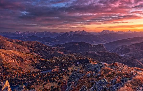Picture sunset, photo, Nature, Mountains, Austria, Alps, Dawn, Landscape
