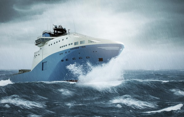 Picture Sea, Rain, Storm, The ship, The shower, Maersk, Maersk Line, Ship, Vessel, AHTS, Maersk, Anchor ...