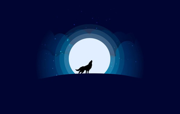 Picture moon, minimalism, stars, Wolf, animal, digital art, artwork, silhouette, wild, simple background, howling