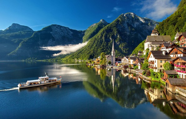 Picture clouds, mountains, the city, lake, reflection, ship, home, Austria, Hallstatt, Hallstatt, Hallstatt, community
