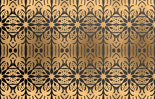 Picture flowers, background, pattern, black, texture, ornament, Golden background