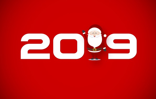 Picture red, New year, Santa Claus, 2019