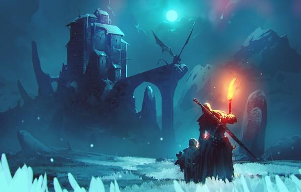 Picture fire, moon, sword, fantasy, weapon, night, winter, mountain, snow, man, dragon, Castle, child, digital art, …