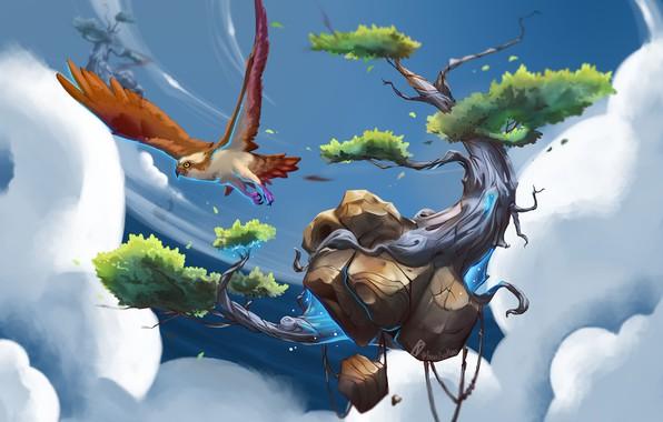 Picture the sky, clouds, fantasy, bird, island, art, flight, floating island concept, Francisco Kobo