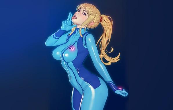 Picture girl, fiction, art, blonde, sexy, bodysuit, Samus Aran, Metroid, Samus, zero suit, to xxNIKICHENxx