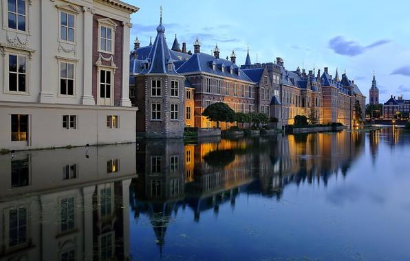 Picture lake, pond, reflection, building, home, Netherlands, Netherlands, The Hague, The Hague, Binnenhof, Binnenhof, Hofvijver