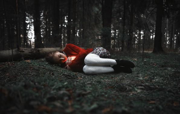 Picture forest, girl, glow, legs, Sergey Kuzichev, Anastasia Sukhanova