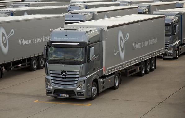 Picture trucks, grey, Mercedes-Benz, Parking, tractor, 4x2, Actros
