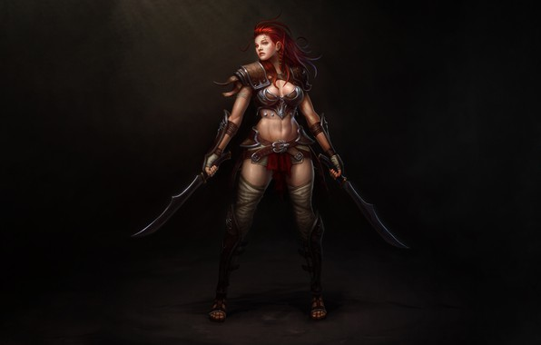 Picture Girl, Art, Style, Warrior, Illustration, Redhead, Minimalism, Blades, Figure, Character, Daggers, Hyeon Gwan Nam