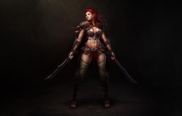 Picture Girl, Art, Style, Warrior, Illustration, Redhead, Minimalism, Blades, Figure, Character, Daggers, Hyeon Gwan Nam