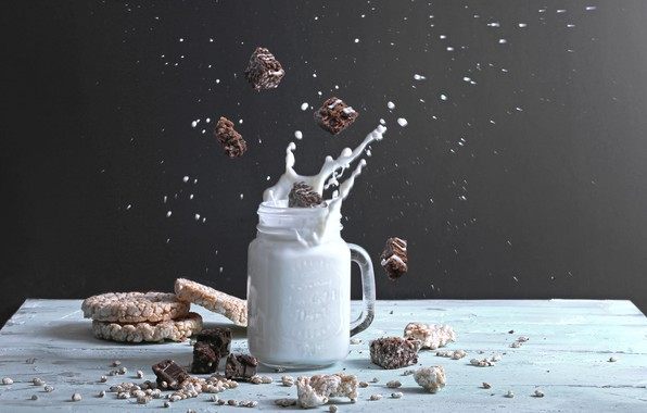 Picture squirt, splash, milk, candy, Bank, wood, bread