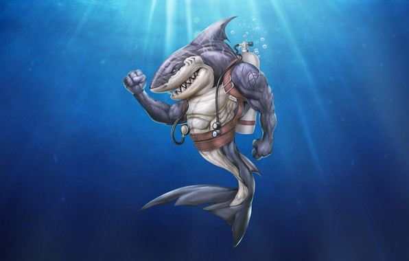 Picture Minimalism, Style, Shark, Background, Shark, Fantasy, Art, Illustration, Characters, Science Fiction, Creatures, by Martin Mariano ...