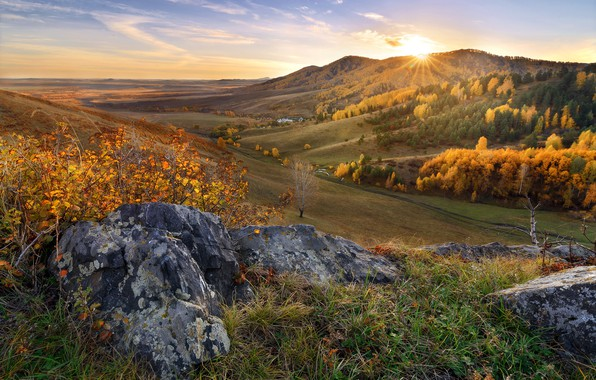 Picture autumn, forest, the sun, mountains, stones, the slopes, boulders