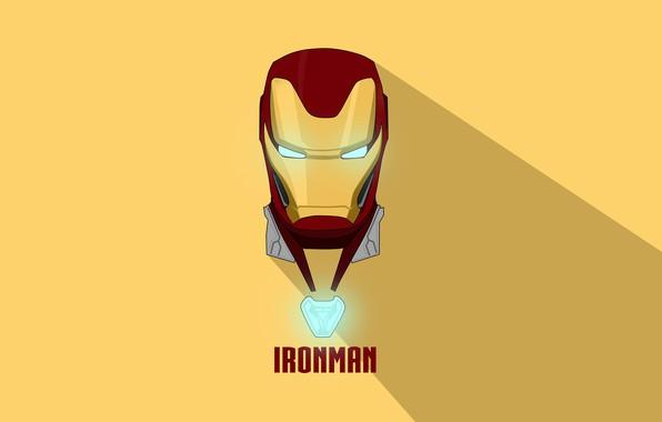 Picture yellow, background, shadow, helmet, Iron man, Iron Man, comic, MARVEL