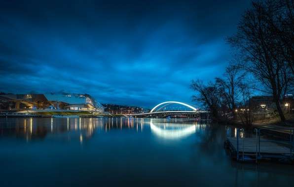 Picture lights, river, France, the evening, Lyon, Museum Merger