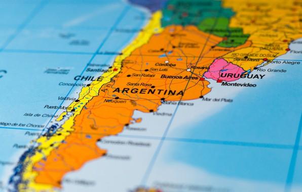 Picture Argentina, map, Chile, Uruguay