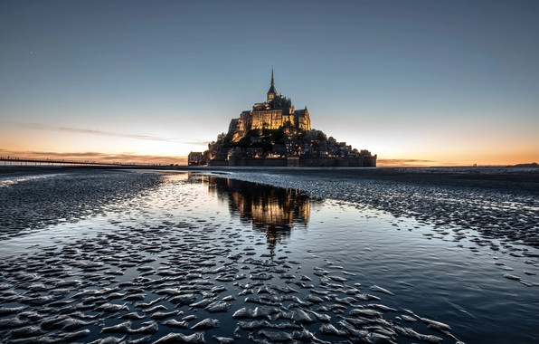 Picture castle, France, island, the monastery, Mont-Saint-Michel