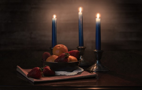 Picture candles, strawberry, tangerines