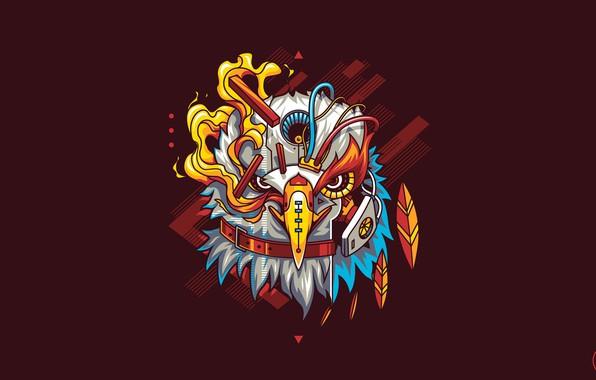 Picture Eagle, Art, Flame, Robot, Vector, Background, Bird, Illustration, Minimalism, Cyborg, Animal, Drawing, Angga Tantama