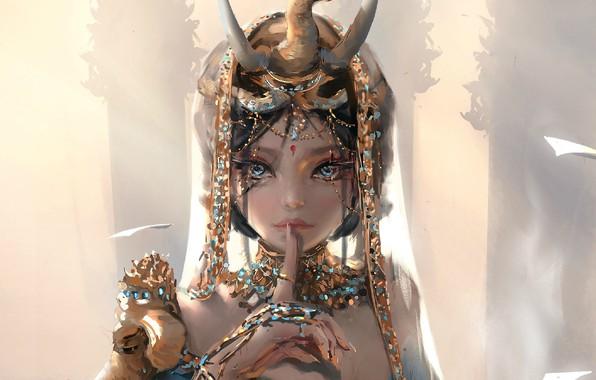 Picture girl, fantasy, horns, blue eyes, brunette, digital art, artwork, princess, fantasy art, painting art, fantasy …