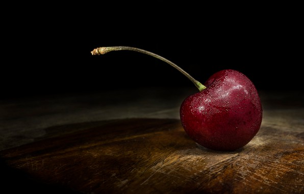 Picture drops, macro, cherry, the dark background, table, Board, berry, lies, wooden, black background, one, cherry, …