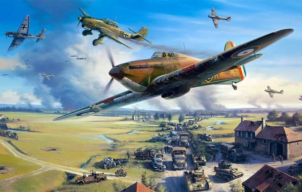 Picture Hawker Hurricane, Nicolas Trudgian, British single-seat fighter, Junkers Ju 87, Dunkerque