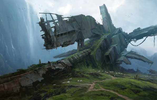 Picture fantasy, animals, landscape, nature, science fiction, mountains, sci-fi, ruins, sheep, artwork, crash, fantasy art, Spaceship, …