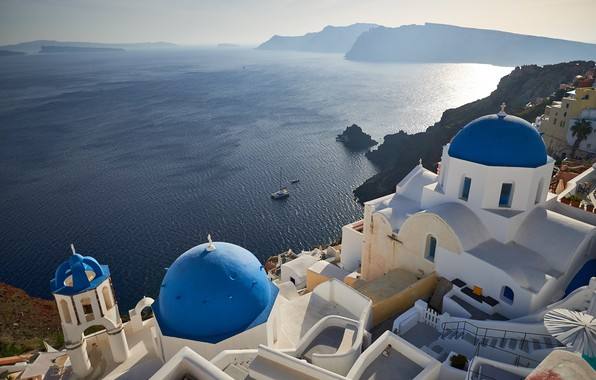 Picture sea, the sun, rocks, coast, height, home, Greece, the view from the top, Santorini