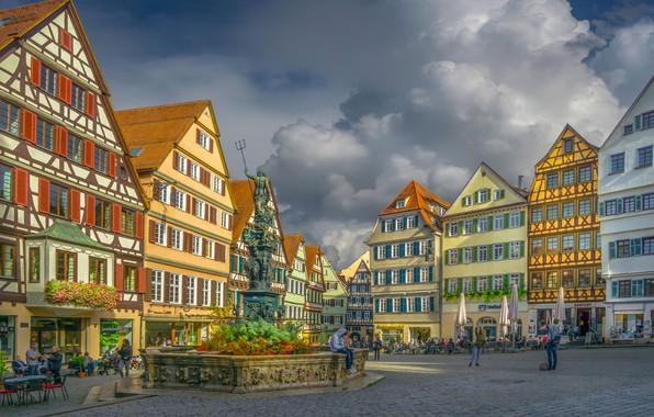Picture building, home, Germany, area, fountain, Germany, Baden-Württemberg, Baden-Württemberg, Tübingen, Tübingen